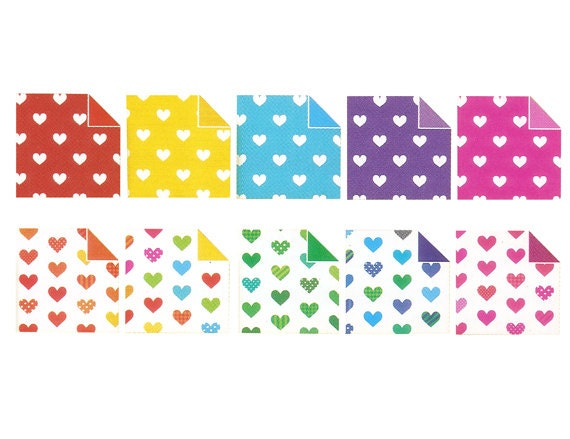 Pearl Heart Pattern II Origami Paper - Double Sided - 20 Sheets ...