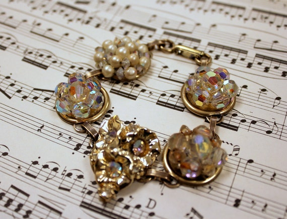 Wedding Jewelry Crystal, Pearl, and Gold Bracelet