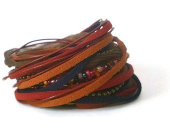 boho wrap bracelet, red orange blue wrap, multistrand wraparound cuff bracelet, rocker cuff, triple wrap bracelet, gift for her