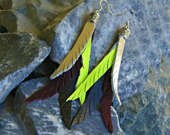 Leather Earrings. Feather Leather Earrings, Fleathers  - Yellow, Silver, Burgundy and Black