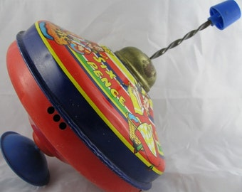 VINTAGE Chad Valley Humming Top Sing a Song of Sixpence TIN TOY great condition Childhood Memorabilia rustic cottage farmhouse fun
