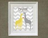 Giraffe Family Print - 8x10 Personalized Chevron Baby Room Art