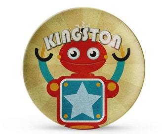 Personalized Plate, Robot Melamine Plate, Personalized Child's Space Birthday Cake Plate