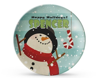Childrens Christmas Plate, Personalized Snowman, Candy Cane, Happy Holiday Melamine Plate