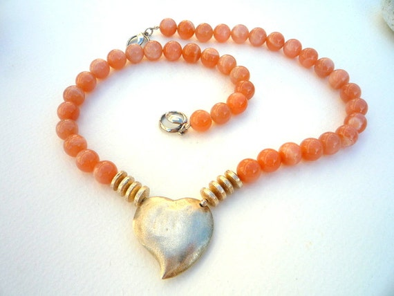 Peach Moonstone semiprecious stones and Sterling Silver focal
