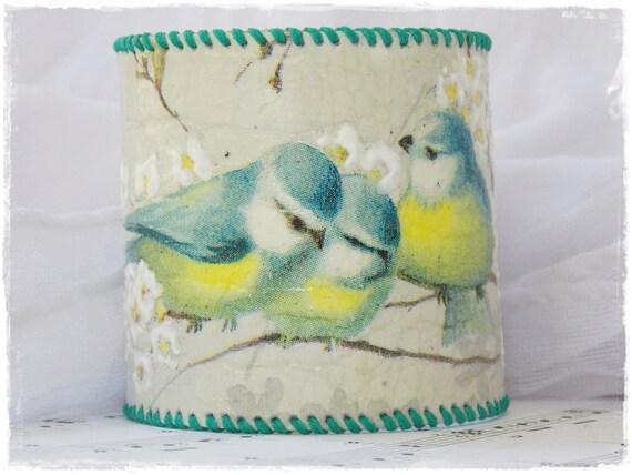 Bird Cuff Bracelet, Bird Leather Cuff ,Bracelet With Birds, Corset Cuff Bracelet, Decoupage Bracelet, Cottage Chic Cuff, Blue Bird Bracelet