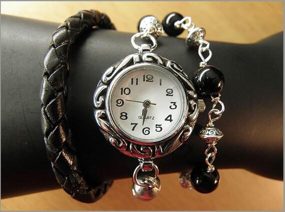 watch leather bracelet gem silver black