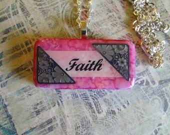 Faith Mixed Media Domino Pendant  Inspirational Pendant   Domino Jewelry T1201