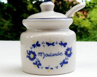 Vintage Mustard Jar with a Spoon - Traditional, Ceramic, Handmade, Excellent Condition