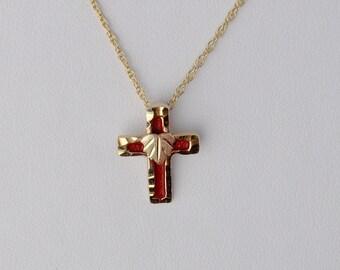 Whitaker's Black Hills Gold Enameled Cross Pendant