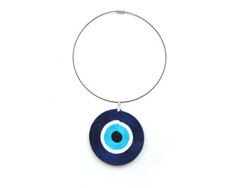 Evil eye necklace, navy necklace, blue necklace, spiral necklace, circle necklace, geometric necklace, talisman necklace, spring trends