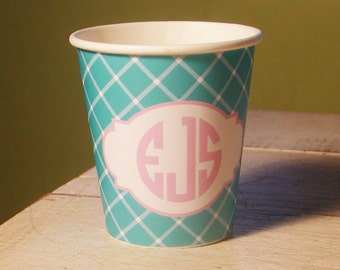 Monogrammed  Hot/Cold Criss Cross Pattern Paper Party Cups - Choose Your Color - Set of 12