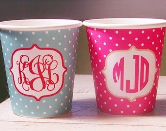 72 Color Options - Monogram  Hot/Cold Polka Dot Paper Party Cups - Set of 12