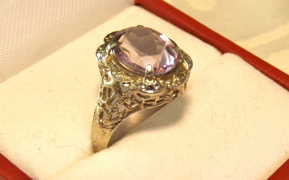Antique Edwardian Amethyst Ring/10K White Gold/2 Carat Stone