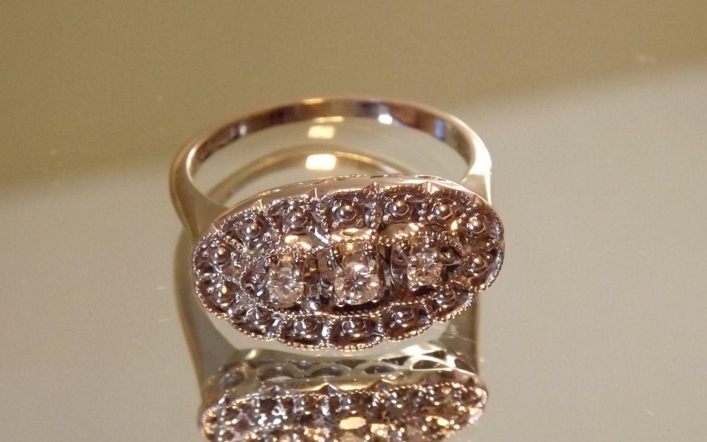 vintage princess ring 14k white gold deco