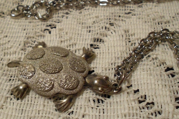 Vintage Silver Tone Turtle Pendant and Chain by JJ