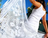 Lace crochet shawl, wedding beach shawl, cotton nice shawl, white beautiful shawl, elegent crochet shawl, lovely white shawl, sweet shawl