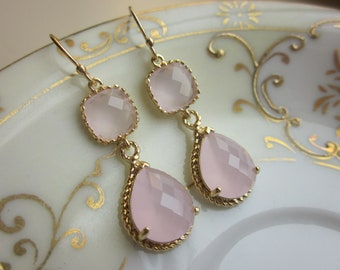 Pink Opal Earrings Gold Pink Earrings Teardrop Glass - 14k Gold Filled Earwires - Bridesmaid Earrings Wedding Earrings