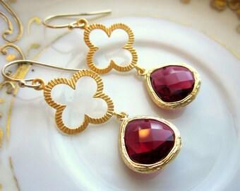 Garnet Earrings Red Gold Quatrefoil Clover - Bridesmaid Earrings - Wedding Earrings - Bridesmaid Jewelry Garnet