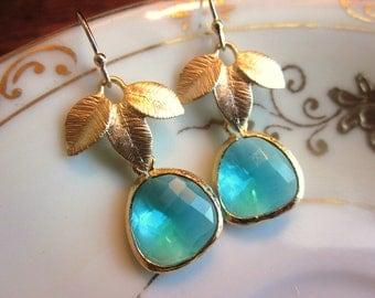 Sea Green Earrings Blue Gold Leaf - Bridesmaid Earrings - Bridal Earrings - Wedding Earrings