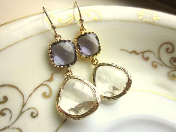 Amethyst Earrings Crystal Gold Earrings Two Tier - Bridesmaid Earrings Wedding Earrings Valentines Day Gift