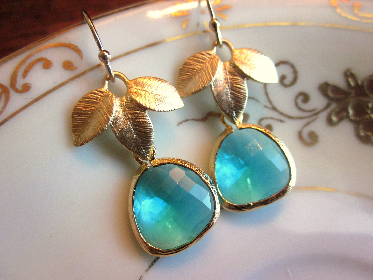 sea green earrings blue gold leaf bridesmaid earrings