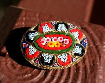 Mosaic Brooch Pin Vintage Flowers
