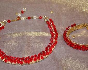 Necklace  and Bracelet Set  Red Bead Gold Vintage