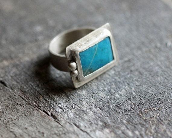 Peruvian Blue Opal & Sterling Silver Ring, Unisex, OOAK, Size 6