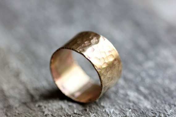 Wide Textured Brass Band, Unisex, Rustic, Size 9