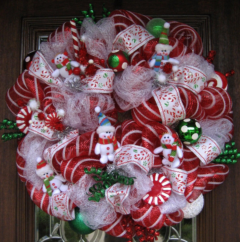 Deco Mesh Christmas Tree Wreath: Deco Mesh CHRISTMAS SNOWMEN WREATH