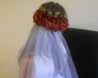 Wedding Veil Red Roses-Red Roses Bridal Headpiece-Pearls and Roses Cathedral Veil-Bridal Accessory