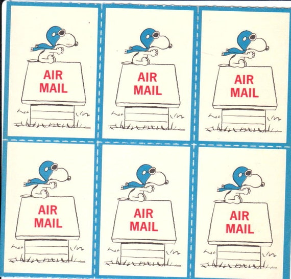 Rare Vintage Peanuts Snoopy 'Airmail' Postage Stamp Style 70's Stickers