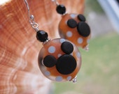 Mango Polka Dot Minnie Mouse Icon Mickey Lampwork Glass Beads Earrings Jewelry Sterling Disney Mickey
