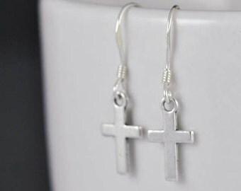 cross earrings, silver earrings, sterling silver, sterling silver earrings, earrings, drop, dangle, hanging, christian, catholic