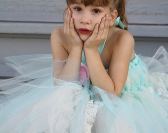 Baby Doll  flower girl dresses, beach weddings,  photoprop aqua /  ivory laced tutu dress choose your colors