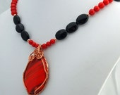 Red and Copper Glass Wire Wrap Pendant with Coral and Obsidian Necklace, Handmade Gemstone Pendant Necklace