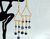 Sodalite and Gold Triangle Chandelier Earrings - Drop Earrings - Dangle Earrings