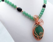 Aventurine, Onyx and Copper Natural Stone Pendant Necklace, Wire Wrapped Pendant