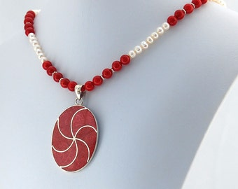 Coral, Pearl Sterling Silver Pendant Necklace