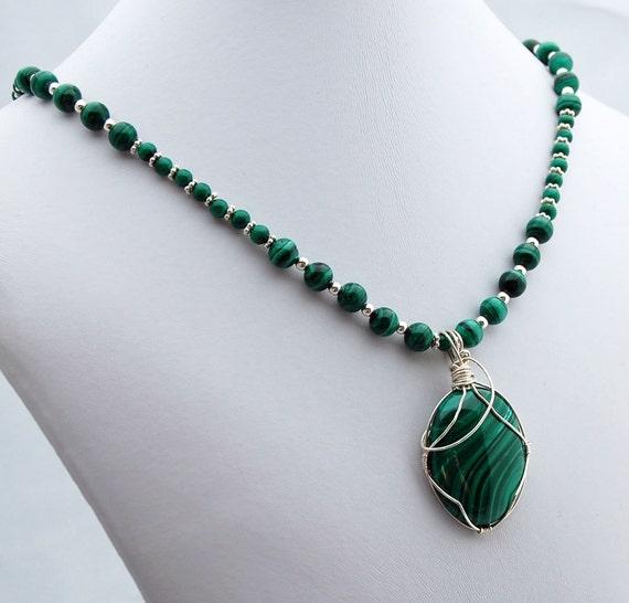 Malachite & Sterling Pendant Necklace