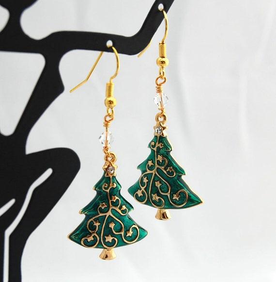 Swarovski Christmas Tree Decoration Set : Christmas tree earrings swarovski by