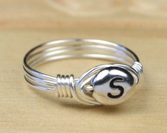 Sterling Silver Filled Wire Wrapped Letter S Initial Ring- Any Size- Size 4, 5, 6, 7, 8, 9, 10, 11, 12, 13, 14