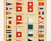 "Nautical Flags Vintage Print, Showing ""International Code and U. S. Weather Bureau Signals,"" Giclee Reproduction from Antique Original."
