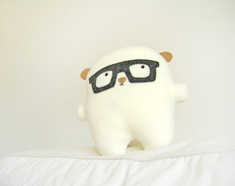 Bambak, adorable polar bear with geek glasses, geek toy, boyfriend gift, cute creature, kawaii plushie, personalized kids, girlfriend gift