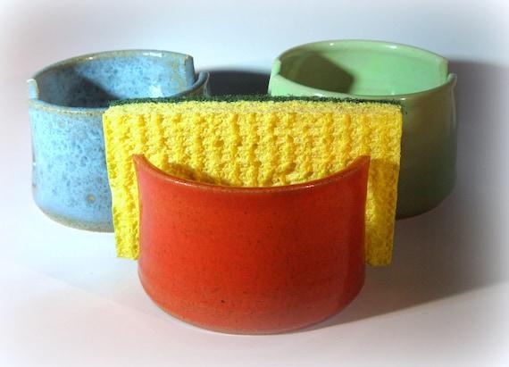 Pottery Sponge Holder, Ceramic Sponge Holder, Orange