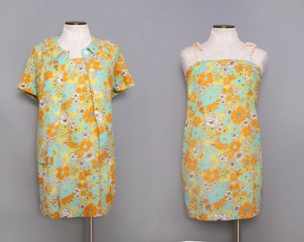 60s Mini Dress. Psychedellic Dress. Vintage Sundress 1960s Short Dress. Retro Floral Dress. 60s Festival Dress. Beach Dress Set Small Medium