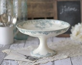 Antique French Ironstone (terre de fer) Cake Stand/Compote Floral Teal Transferware - circa 1900's