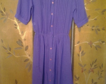 90s purple pleated frilly collar dress