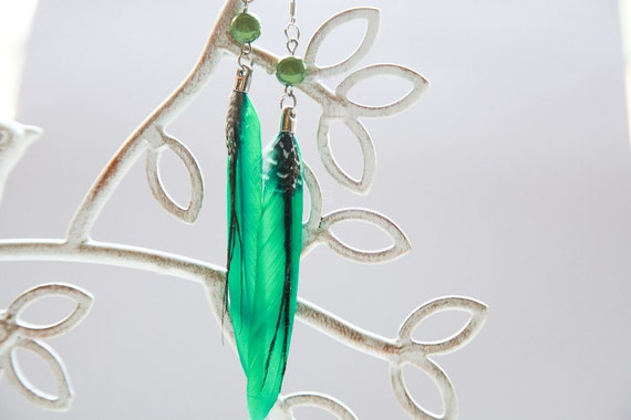 Beautiful Green Feather Earrings with Guinea Feather Accent and Bead Attachment -- SALE